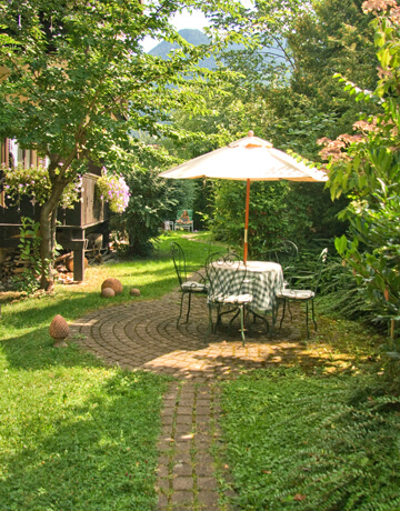 Der Garten vom Biohotel Bavaria