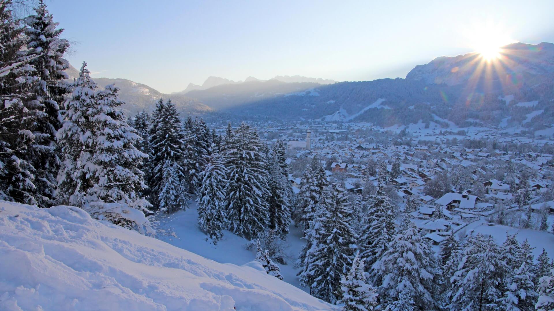 Winterurlaub in Garmisch-Partenkirchen – weiße Winterlandschaft